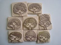 sellos caras hecho a mano, face hand carved stamp