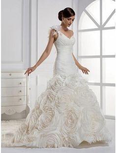 Dramatic Empire One-Shoulder Taffeta Chapel Train Wedding Dress