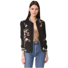 alice + olivia Lila Embroidered Oversized Bomber (€665) ❤ liked on Polyvore featuring outerwear, jackets, black multi, collar jacket, oversized jacket, blouson jacket, oversized collar jacket and embroidered jacket