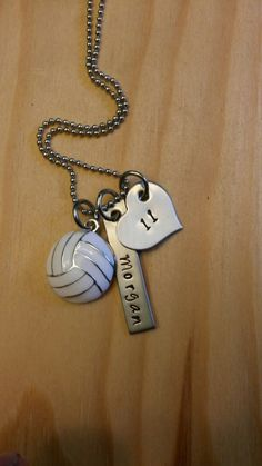 Hand Stamped Volleyball Necklace Volleyball Mom - Girls Volleyball Necklace - Personalized Volleyball Necklace by BlackWolfDesigns21 on Etsy https://www.etsy.com/listing/206692621/hand-stamped-volleyball-necklace