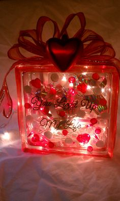 6 Square Glass Block Lighted Decoration by MyPaintedTreasures - for wedding or Valentine's Day