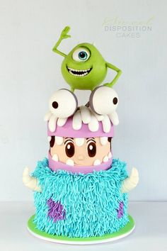 I dont know if I want to put my hands or face in that Sully section- Cake Wrecks - Home - Sunday Sweets: Pixar Pretties! Monster Inc Party, Monster Inc Cakes, Monster Inc Birthday, Fondant Cakes, Cupcake Cakes, Sweets Cake, Cake Wrecks, Crazy Cakes, Disney Cakes