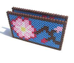 Cherry Blossom Card Holder (lost_mitten) Tags: japanese handmade cherryblossom bead sakura coaster perler cardholder