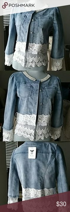 Denim Jacket trimmed with Lace Size L W.T.Y. Denim jacket size large but fits like a medium. Brand new with tags!! Love it!! So beautiful...my loss is your gain. W.T.Y. Jackets & Coats Jean Jackets