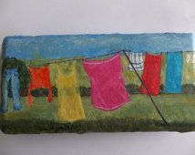 Clothes Drying On Clothesline Painting, Hand painted  Brick Paver,  Household Chores,  Colorful Laundry Painting,