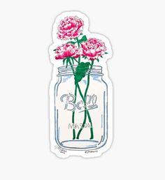 Mason Jar Flowers Sticker