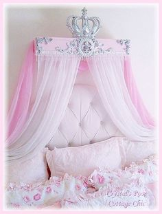 French Flourish, Pink and Silver, Crown Canopy Teester .