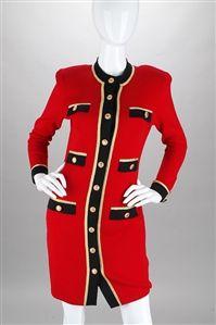 Rodeo Drive Resale - www.shopRDR.com - 100% Authentic Guaranteed - St John Knits Red Santana Button Dress (M)