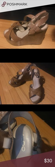 Super cute wedges!!! Only wore these twice. I'm pretty tall and these just make me look gigantic. If you're shorter (or really bold) these might be for you! They are the most comfortable wedges I've ever worn. Aldo Shoes Wedges