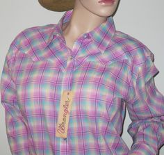 Wrangler Country Western Long Sleeve Pink Multi Plaid Snap Down Shirt ~ Hey Cowgirl