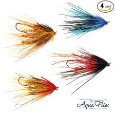 Mini Intruder Steelhead Fly Fishing Flies Assortment - 4 Aqua Flies Rhea…