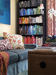 colorful bookshelf - eclectic - living room - other metro - Megan