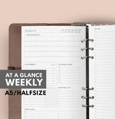 AT A GLANCE WEEKLY Planner Filofax A5 Insert Printable Weekly Planner A5 Filofax insert printable Weekly Planner A5 printable To do list (3.50 USD) by GetWellPlan