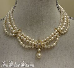 Victorian Pearl Wedding Necklace Set - Swarovski Pearls and Rhinestone in Gold or Silver by AlexiBlackwellBridal, $89.00