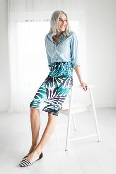 You will not feel lost in this skirt. It will look so good with our Perfect Basic when you go out on the town this summer. This item is Final Sale. Fabric Content: 95% Polyester, 5% Spandex.