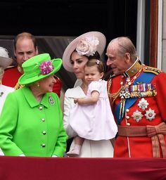 Catherine, Duchess of Cambridge, Princess Charlotte of Cambridge, Queen Elizabeth ll and Prince Philip, Duke of Edinburgh appear on the balcony of Buckingham Palace following the Trooping the Colour ceremony