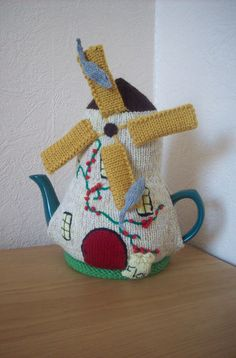 Knitted Tea Cosy Cozy Cosie Windmill with Two Mice by rosiecosie