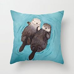 Otterly Romantic - Otters Holding Hands Cute Decorative Throw Pillows for Teens…