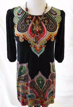 Cha Cha Vente Paisley Print Shift Dress ¾ Sleeves Black Size S #ChaChaVente…