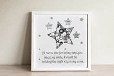 Star Button Art ~ Personalised Framed Star ~ Gifts for Boys ~ Boys Bedroom Decor ~ Button Art ~ Newborn Gift ~ Personalised Gift ~ New baby