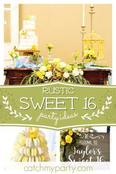 40 ideas party themes for teen girls sweet 16 signs for 2019 – - Party Ideen Rustic Birthday Parties, Birthday Party For Teens, Sweet 16 Birthday, Teen Birthday, Sweet Sixteen, Tea Party Activities, Party Themes, Ideas Party, Theme Parties