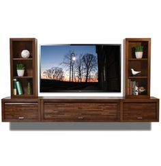 Mounted tv stands brilliant floating entertainment center wall mount tv stand eco geo mocha within 8 Entertainment Shelves, Floating Shelves Entertainment Center, Floating Tv Console, Floating Tv Stand, Floating Wall, Tv Entertainment Centers, Ikea Hacks, Wall Mounted Tv Unit, Wall Units