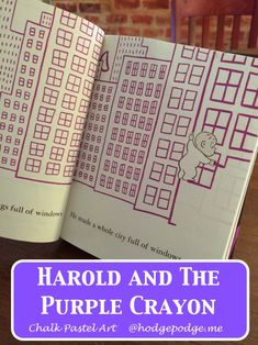 Harold and the Purple Crayon Chalk Art with the inspiration from this favorite book! We have loved Harold and all his adventures since our Five in a Row days. Chalk Pastel Art, Chalk Pastels, Chalk Art, Oil Pastels, Fun Activities For Kids, Diy Projects For Kids, Art Projects, Purple Crayon