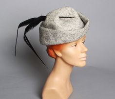 9a9487c7130 60s Grey Mohair Felt HAT   Long Black Pheasant by LuckyDryGoods Pheasant  Feathers