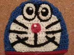 Doraemon the Anime Cat Character Hat, Teen/Adult size (free crochet pattern) Double Crochet Beanie Pattern, Crochet Cap, All Free Crochet, Crochet Baby Hats, Shrek, Doraemon, Baby Hat Patterns, Crochet Patterns, Sewing Patterns