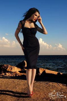 A little black dress  Pinup Couture - PINUP COUTURE Micheline Dress black with Black Chiffon trim