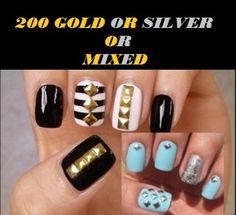 200 x Gold Silver Or Mixed Square Or Circle Metal 3D Nail Art Studs 3mm on Etsy, $2.78