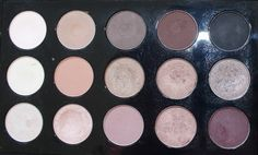 MAC pallet, eyeshadow, vanilla, cork, mystery, embark, carbon, nylon, soft brown, woodwinked, mulch, satin taupe, shroom, naked lunch, haux, sable, sketch - www.takingfive.be