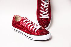 de6e11be192 Tiny Sequin - Starlight Red Canvas Converse® Low Top Sneakers Tennis Shoes  with Crystal Rhinestone Glitter Toes by Princess Pumps