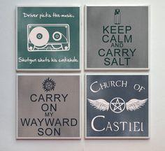 Supernatural SPN Fandom - 4-pc. Ceramic Tile Designer Coasters - Keep Calm Carry Salt and More Set No. 2. $14.00, via Etsy.