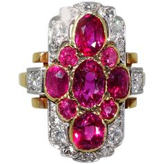 1900 Antique Burma Ruby Diamond Gold Platinum Ring | See more rare vintage More Rings at https://www.1stdibs.com/jewelry/rings/more-rings