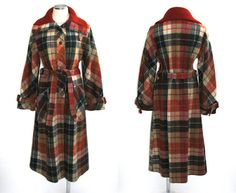 vintage 70s plaid coat / 1970s burnt by BreesVintageRevivals, $109.00