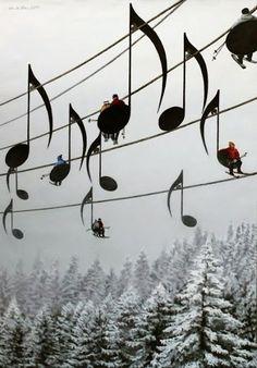 France♡♪music note ski lifts ♪
