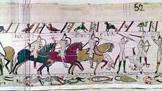 The Battle of Hastings; the deaths of King Harold's brothers, the Earls Gurth and Leofwin: a scene from the Bayeux Tapestry. Norman Conquest, Bayeux Tapestry, Tours France, Anglo Saxon, Art History, Battle, Scene, Ancestry, Belgium