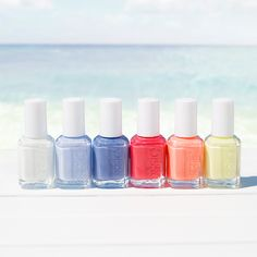 Let the fun begin with the new essie summer 2015 collection inspired by Color Designer @RebeccaMinkoff's love of endless summer fun. Take a plunge with these bright new shades. Polish yourself with a sparkling white, creamy pistachio, atlantic blue, sun-ripe peach, bright crimson and marine blue for the perfect beach look.