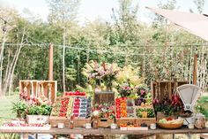 Beautiful fruit stand hors d'oeuvres station | Michele M Waite Photography