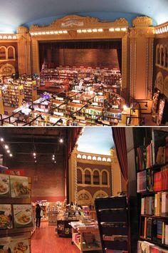 """Dünyadan harika kitapçılara bakmaya devam ediyoruz. Kanada, Toronto'da Runnymede tiyatrosunda hizmet veren """"Chapters"""" kitaplar arasında oldukça """"sanatsal"""" bir yolculuk yapmaya olanak sağlıyor gibi.     http://www.kitapika.com/"""