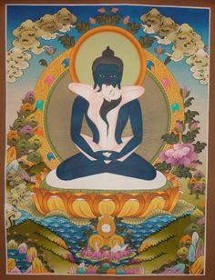This is a beautiful #Samantabhadra #(Buddha Sakti) Tibetan #Thangka handmade in Nepal