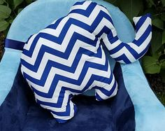 Elephant pillow, elephant nursery, boys nursery, girls nursery, blue and white chevron, blue and white chevron nursery
