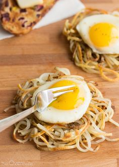 Potato Noodle Hash Browns Spiralize a potato, then place in a waffle iron or panini press for perfect potato nests! Love it!