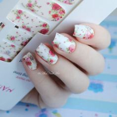 14pcs/ Sheet Flowers Nail Wraps Red Rose Nail Art Full Stickers Decals MDS1013  | eBay
