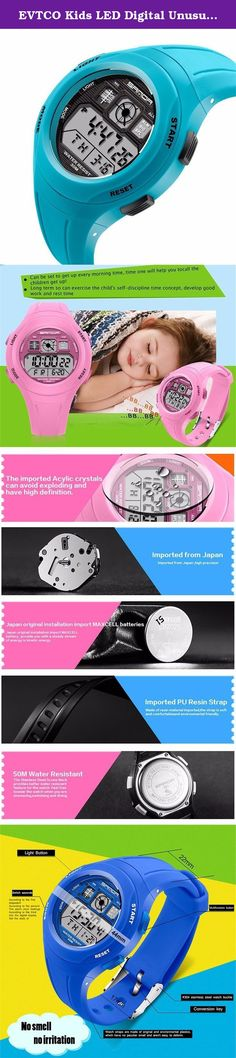 EVTCO Kids LED Digital Unusual Sports Outdoor Children's Wrist Dress Waterproof Watch with Silicone Band, Alarm, Stopwatch for Boy Girls Light blue. Waterproof description The watch is real 30M waterproof,support washing,bathing and swimming ,but can't take hot bath. Movement type: Digital Display type: Digita Band Band materal: Resin Clasp type: Pin buckle Size and weight Watch lenght: about 24cm Dial diameter: about 4.4cm Dial thickness: about 1cm Band width: about 2cm Watch weight…