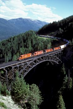 An eastbound CPR freight train at Stoney Creek Bridge in Rogers Pass as seen in this 1988 photo