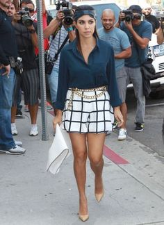 Kourtney Kardashian with a black and white pattern short #GouldianMode #SquaredShort $70 AUD www.gldmode.com.au #AustraliaFashion