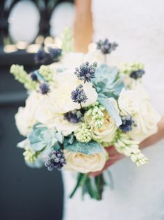 purple, cream bouquet with dusty miller and succulents