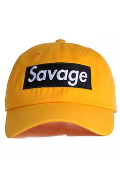 65f3aec59f1 Nerdy Fresh The Savage Dad Hat in Yellow Black. Dro